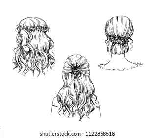 Set of hand drawn hairstyles, vector sketch. Fashion illustration