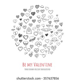 Set of hand drawn Happy Valentine's Day symbols and icons Sketchy Hearts, envelopes with hearts Love sign Doodle elements collection Valentine vector illustration Stylized cartoon heart