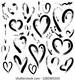 Set of hand drawn heart and arrows isolated on white background. Symbol of love. Illustration by brush. Hearts for Valentines Day.