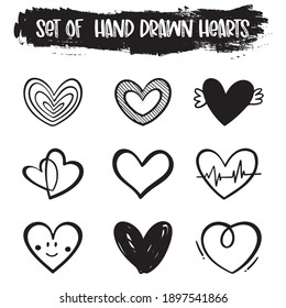 Set of  hand drawn heart, Design elements for Valentine's day, Handdrawn rough marker hearts isolated on white background, Vector illustration for your graphic design, EPS.10