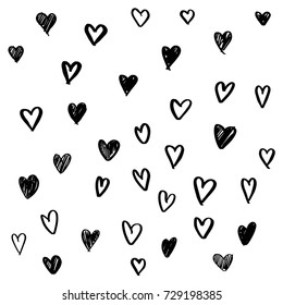 Set of hand drawn heart. Handdrawn rough marker hearts isolated on white background. Vector illustration for your graphic design