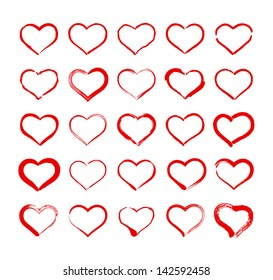 Set of Hand Drawn Heart Icons