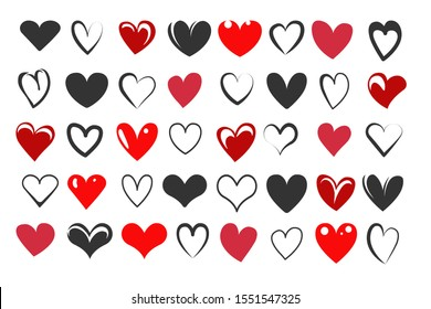Set of Hand Drawn Heart Icons drawn in different styles. Vector illustration.