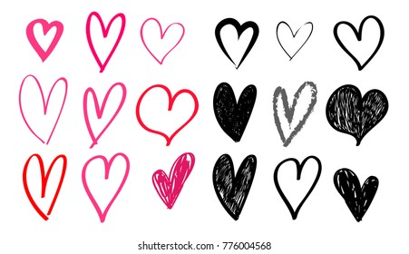 Set of hand drawn heart. Red and black rough marker hearts. For your graphic design. Vector illustration. Isolated on white background