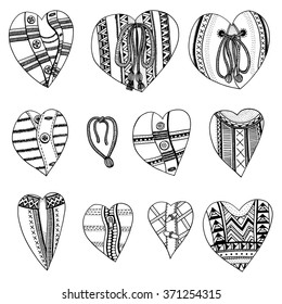 Set of hand drawn hearts. Background for Valentines day. Sketch for coloring book. Vector, doodle design elements.  Black and white.