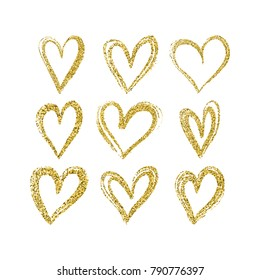 Set of hand drawn hearts with golden glitter. Vector design element for Valentine's day holiday, Engagement cards.