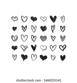 Set of hand drawn hearts. Heart doodles illustration collection. Symbol of love, health and care.