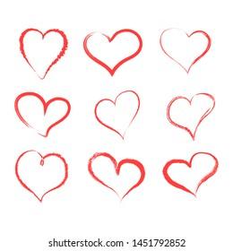 Set of hand drawn hearts. Vector illustration. EPS 10.
