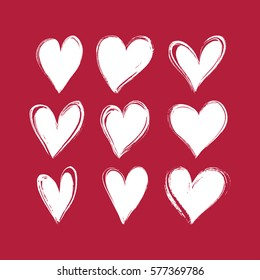 Set of hand drawn hearts. Vector design element for Valentine's day.