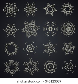 Set of hand drawn hexagon vector shapes, rosette, stars, geometric ornaments