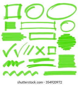 Set of hand drawn highlighter design elements, marks, stripes and strokes. Can be used for text highlighting, marking or coloring in your designs. Optimized for one click color changes. EPS10 vector.