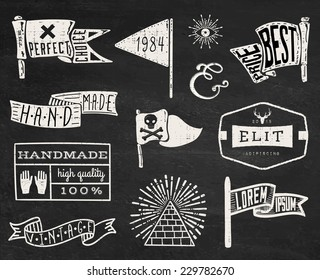 Set of hand drawn hipster vintage badges, borders, frames and labels on chalk board background. eps10