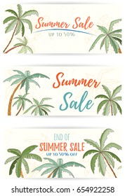 Set of hand drawn holiday banners. Summer vector illustration of palms can be used as invitation, postcard, menu, flyer or website decoration. Life is better at the beach