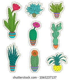 Set of hand drawn houseplant on white background.Vector illustration.