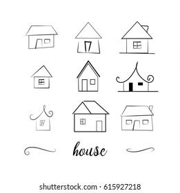 set of hand drawn houses.houses icons set