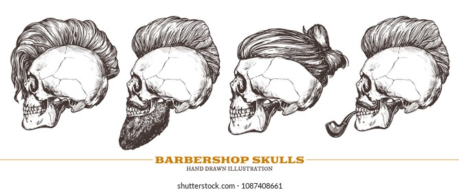 Set of hand drawn human skull with trendy haircut, mustache and vintage smoking pipe in the profile. Vector sketch engraving collection barbershop illustration