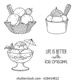 Set of hand drawn ice cream served in glass, waffle and paper bowls