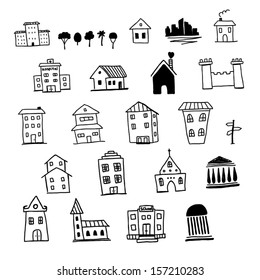 Set of hand drawn icons of houses