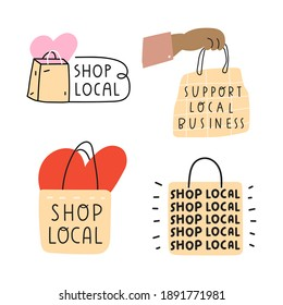 Set of hand drawn icons. Shop local. Vector illustrations on white background.