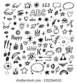 Set of hand drawn icons and symbols. Doodle design elements. Vector illustration.