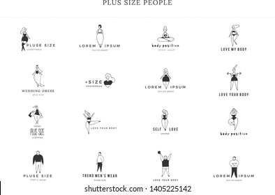 Set of hand drawn icons with text. Body positive concept. Happy attractive overweight women and men. Vector illustration. Love your body. For large-size clothing stores.