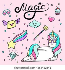Set of hand drawn illustration of a magic unicorn, wand, heart-sunglasses, diamond and other magic attributes