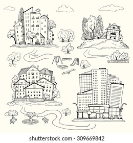 Set hand drawn illustrations of different houses. homes of various architectural styles. silhouettes of different urban landscape and the village