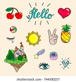 Set of hand drawn illustrations of different 80-90s attributes. Vector isolated illustration.
