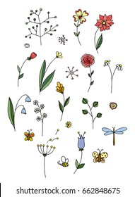 Set of hand drawn illustrations. Flowers and Butterflies.Colorful.