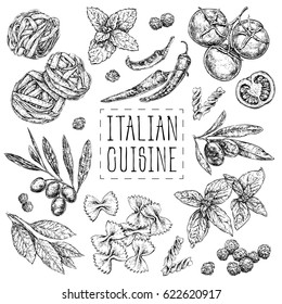 Set with hand drawn illustrations of food. Italian cuisine. Perfect for menu, cards, blogs, banners. vector illustration in vintage style