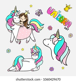 Set of hand drawn illustrations of magic unicorns, a girl with a unicorn. Vector isolated illustration