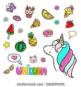 Set of hand drawn illustrations of a magic unicorn and sweets. Vector isolated illustration