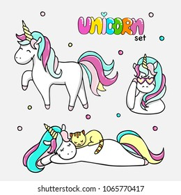 Set of hand drawn illustrations of magic unicorns, a unicorn with a cat. Vector isolated illustration