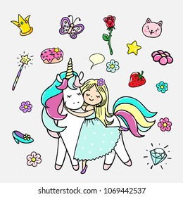 Set of hand drawn illustrations of a magic unicorn and different attributes