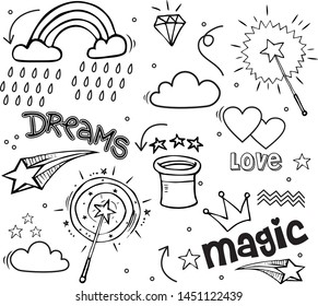 Set of hand drawn illustrations of a magic wand, diamond, dreams and other magic attributes.  Vector illustration