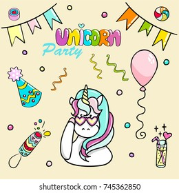 Set of hand drawn illustrations of a magic unicorn and different party attributes. Vector isolated illustration.