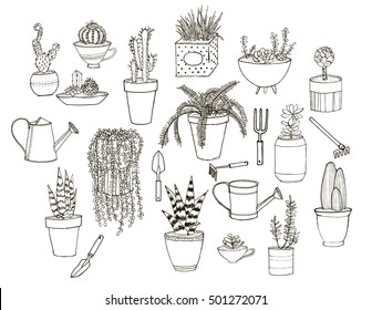 Set of hand drawn images with potted plants and tools. Clean line art suitable for re-paining and coloring books.