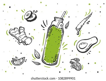 Set of hand drawn ingredients for smoothie or detox drink in the bottle in doodle vector style