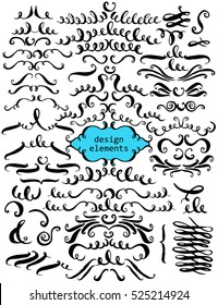 Set of hand drawn ink decorative elements for page and text design. Flourishes, swirls, curves, loops, dividers, headers.