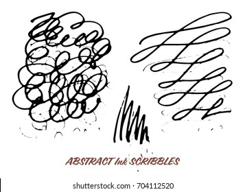 Set of hand drawn ink pen swirly scribbles. Isolated grunge design elements