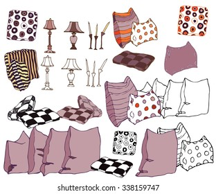 Set of hand drawn interior objects: pillows, vintage lamps, candles. Isolated on white background. Vector illustration