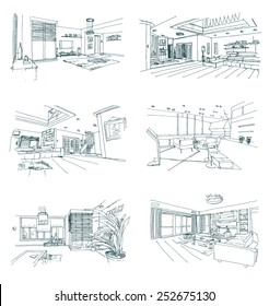 set of hand drawn interior sketches