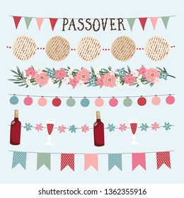 Set of  hand drawn Jewish holiday Pesach, Passover garlands with lights, party bunting flags. Hand drawn web banners, borders with bottle of wine, matzo bread, olive branches and flowers.