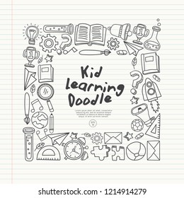 Set of hand drawn kid learning doodles shaped in square : Vector Illustration