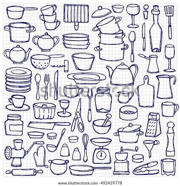 set hand drawn kitchen doodles 600w