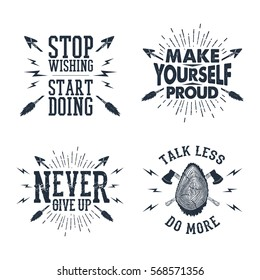 Set of hand drawn labels with textured crossed arrows, and tree trunk vector illustrations, and inspirational lettering.
