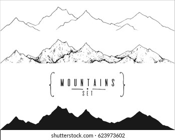 set of hand drawn landscape with mountain peaks: outline, contour and silhouette. template for your design