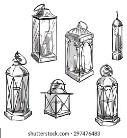 set of hand drawn lanterns. Vector sketch.