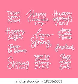 Set of hand drawn lettering about spring holidays - easter, mother's day, 8th march. Linear vector calligraphy