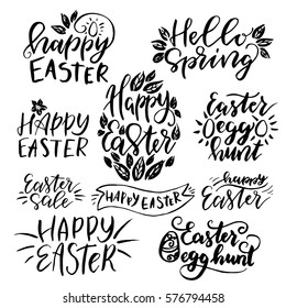 Set of hand drawn  lettering about  easter.